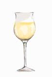 Glas van de waterverf het witte wijn Royalty-vrije Stock Afbeeldingen