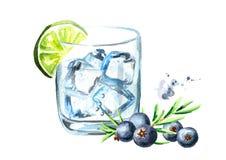 Glas van Jenevertonicum met ijsblokjes, jeneverbes en kalk Waterverfhand getrokken die illustratie, op witte achtergrond wordt ge Royalty-vrije Stock Afbeeldingen