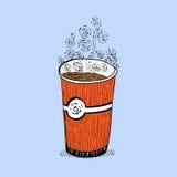 Glas van koffieschetsen royalty-vrije illustratie