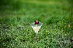 Glas van oranje tropische cocktail met kers Royalty-vrije Stock Foto