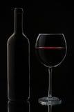 Glas van Rode Wijn en Fles Stock Afbeeldingen