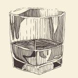 glas van whisky uitstekende illustratie, gegraveerde retro stijl Royalty-vrije Stock Fotografie