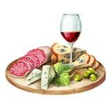 Glas van wijn, gerookte vlees en worst en kaas op de plaat Stock Foto's