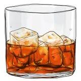 Glas van wisky het schilderen Royalty-vrije Stock Afbeelding