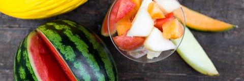 Glas of various melon salad Stock Image