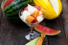 Glas of various melon salad Stock Photo