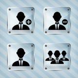 Glas vastgesteld pictogram van zakenman Royalty-vrije Stock Foto's