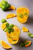 Glas vers jus d'orange met verse vruchten Stock Foto's