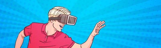 Glas-virtuelle Realität der Mann-Abnutzungs-Schutzbrillen-3d, die Knall Art Style Background Horizontal Banner gestikuliert Stockfotos