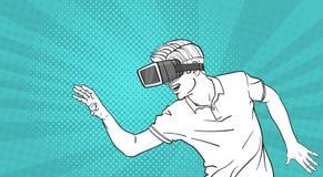 Glas-virtuelle Realität der Mann-Skizzen-Abnutzungs-Schutzbrillen-3d, die Knall Art Style Background gestikuliert Lizenzfreie Stockfotografie