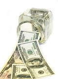 Glas voll Banknoten 100$ Stockbilder