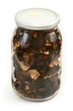 Glas voll getrocknete Pilze Lizenzfreies Stockbild