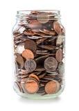 Glas voll Münzen Lizenzfreie Stockbilder