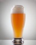 Glas voll vom Bier und vom Schaum auf einem grauen Hintergrund Lizenzfreies Stockbild