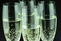 Glas von Champagne in der Nahaufnahme Stockfotografie