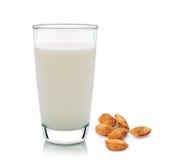 Glas von Milch und von Mandel auf weißem Hintergrund Lizenzfreie Stockbilder