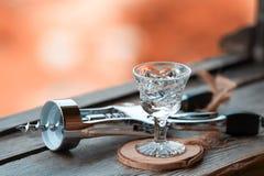 Glas voor gefacetteerde alcohol Stock Foto's