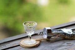 Glas voor gefacetteerde alcohol Stock Foto