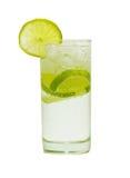 Glas Wasser mit Gas und Zitrone Stockbild