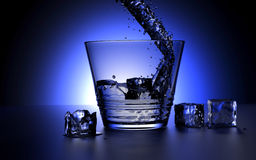 Glas of Water. 3d-rendering of water falling in a glas with ice cubes stock illustration