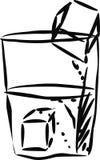 Glas water met ijsblokjes. Stock Illustratie