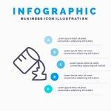 Glas, Water, Vochtig Lijnpictogram met infographicsachtergrond van de 5 stappenpresentatie stock illustratie