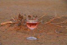 Glas Wein auf trockenem afrikanischem Boden lizenzfreies stockbild
