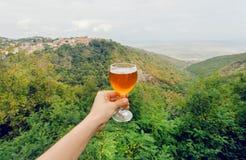 Glas Wein in der Hand des Touristen in der Naturlandschaft grünen Alazani-Tales, Georgia Selbst gemachtes Getränk Lizenzfreie Stockfotografie