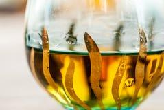 Glas Weinbrandschussabschluß oben Stockbilder