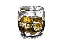 Glas whisky met ijs stock afbeelding