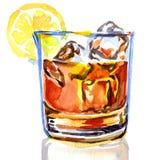 Glas whisky met ijs stock illustratie