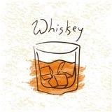 Glas Whisky mit Eis stock abbildung