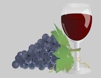 Glas wijn en druiven Stock Afbeeldingen
