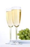 Glas wijn met druif Royalty-vrije Stock Foto's