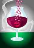 Glas wijn met lippen en harten Stock Fotografie