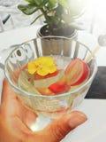 Glas wijn op vakantie met fruit stock afbeelding