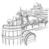 Glas of Wine on Barrel in Front of german Vineyard Landscape Stock Photography