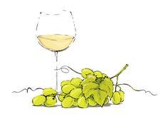Witte wijn met druiven Royalty-vrije Stock Fotografie