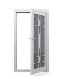 Glasad dörr som isoleras på vit bakgrund framförande 3d vektor illustrationer