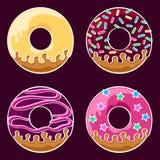 Glasad donutsuppsättning Arkivfoton