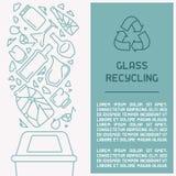 Glasafval het boekje van de recyclingsinformatie royalty-vrije illustratie