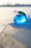 Glasapfel auf Schnee. lizenzfreies stockbild