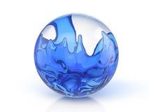 Glasbal met blauwe vloeistof stock illustratie