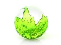Glasbal met groene vloeistof stock illustratie