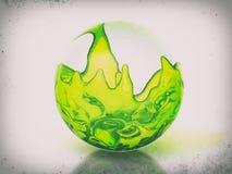 Glasbal met groene vloeistof royalty-vrije illustratie