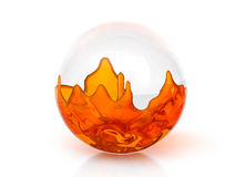 Glasbal met oranje vloeistof vector illustratie