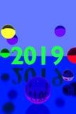 Glasballen op weerspiegelende oppervlakte en het jaar 2019 Stock Foto