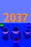 Glasballen op weerspiegelende oppervlakte en het jaar 2037 Stock Foto's
