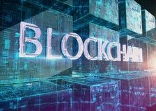 Glasblok met gloeiende micro- spaanders in hen en woord blockchain vooraan Nieuwe techologies 3d teruggevende illustratie royalty-vrije illustratie