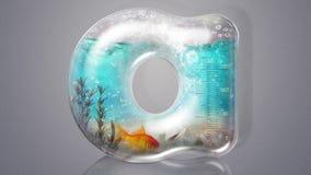 Glasbuchstabe und Fische stock video footage